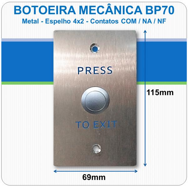 Botoeira Mecânica de Embutir NA-C-NF - Aço Inóx 4x2 - BP70