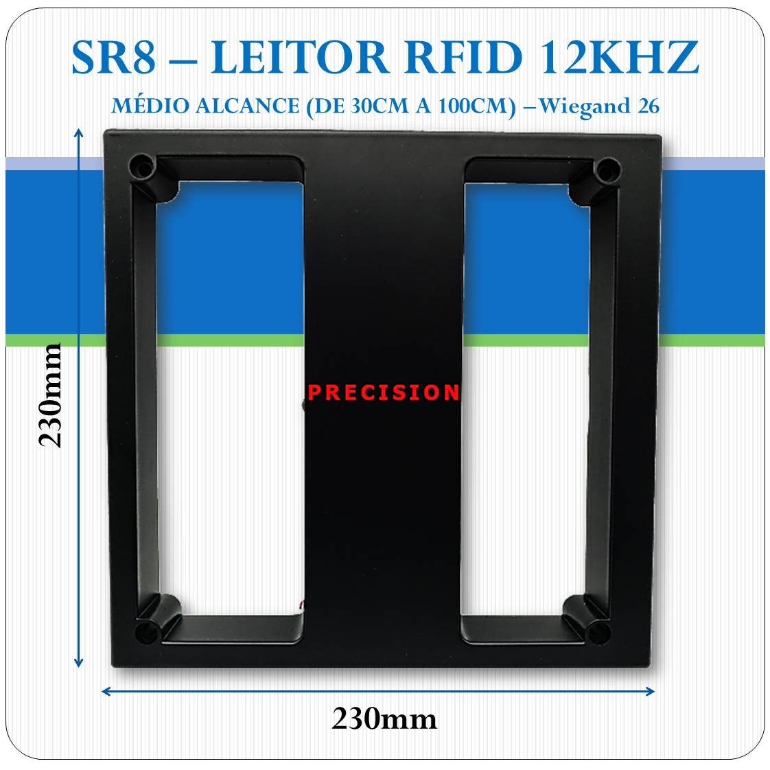Leitor RFID 125Khz - Médio Alcance - Wiegand 26 - SR8