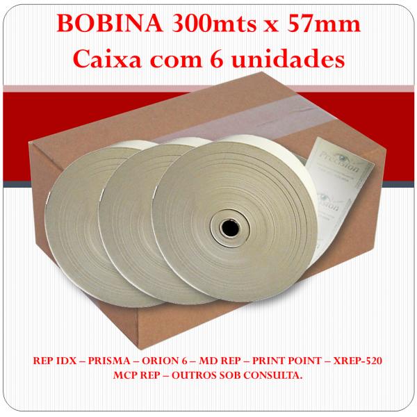 Bobina Térmica 57mm x 300mts - CAIXA com 6 unidades