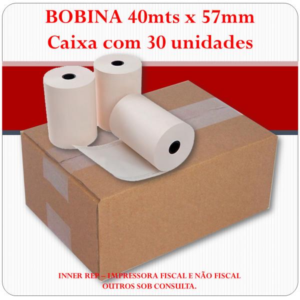 Bobina Térmica 57mm x 40mts - CAIXA com 30 unidades