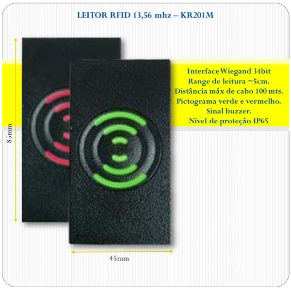 Leitor de RFID slave - KR201M - 13,56Mhz