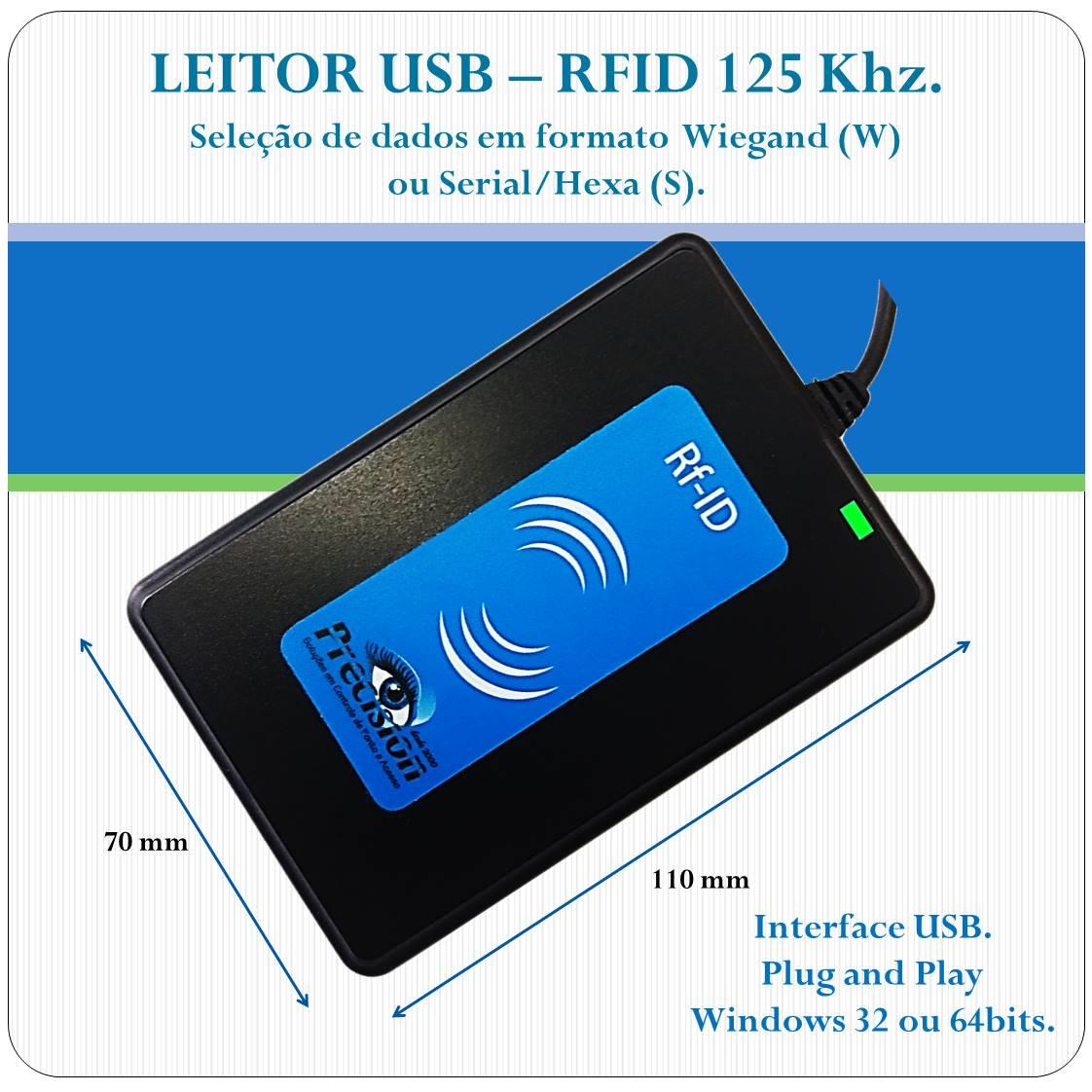 Leitor RFID proximidade USB - U125-WS - 125Khz