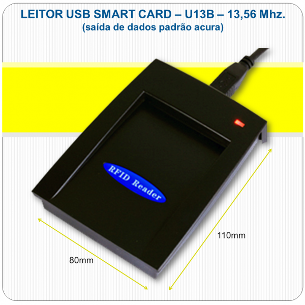 Leitor RFID Mifare USB - U13B - 13,56Mhz