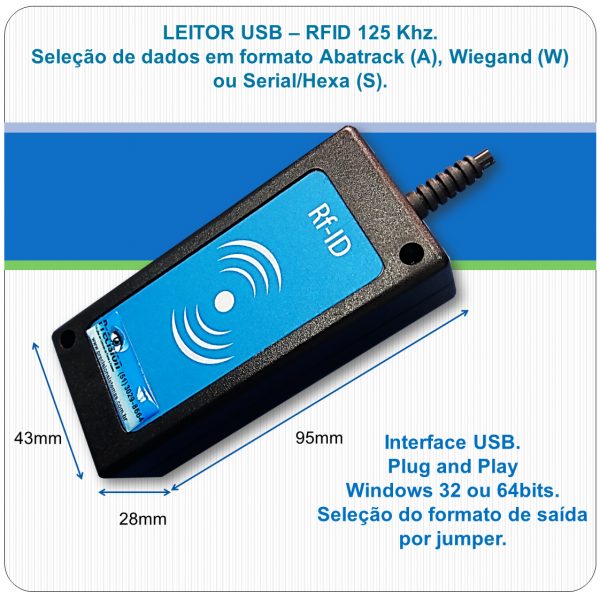 Leitor RFID proximidade USB - U125 - AWS - 125Khz (padrão Acura)
