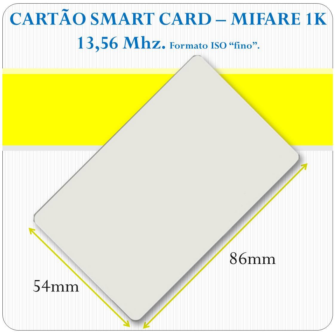 Cartão Smart Card - Mifare 1K - 13,56Mhz - ISO - Liso