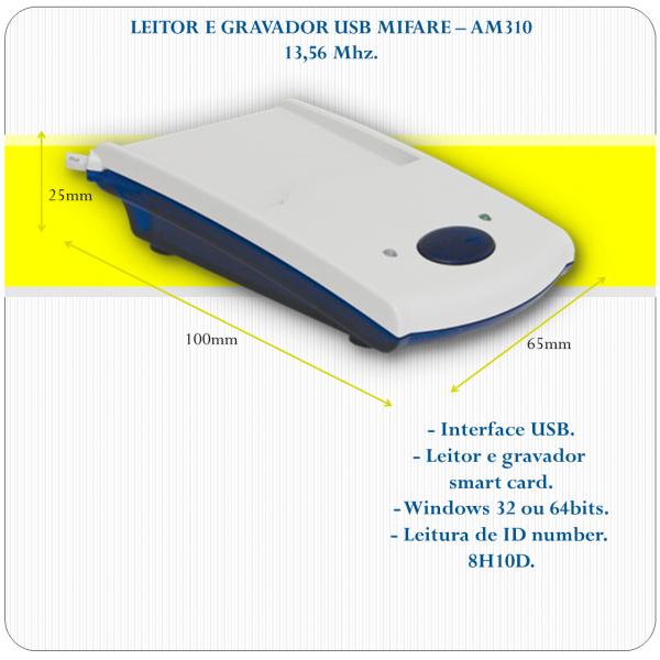 AM-310 USB- Leitor e Gravador Mifare / Smart Card