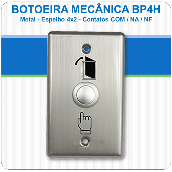 Botoeira Mecânica de Embutir NA-C-NF - Aço Inóx 4x2 BP4H