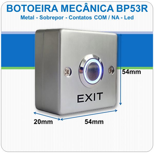 Botoeira Mecânica de Sobrepor NA-C - Metal - Led - BP53R