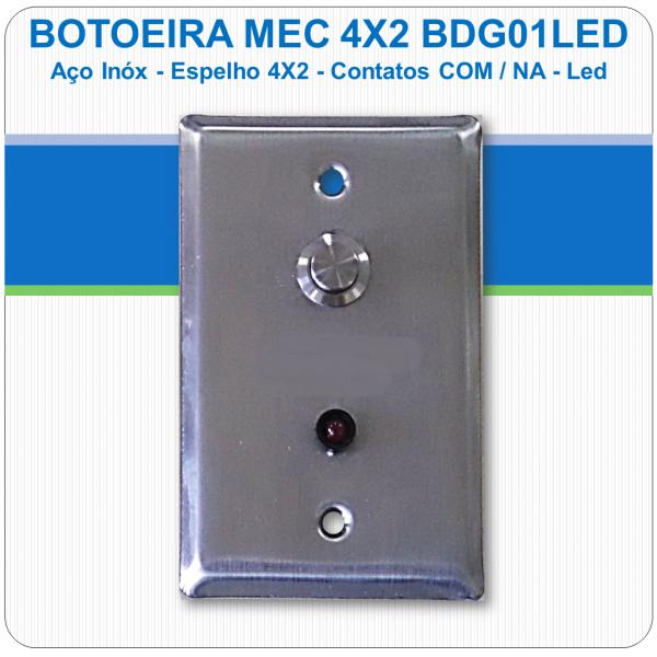 Botoeira Mecânica de Embutir NA-C - Aço Inóx 4x2 Led - BDG01LED