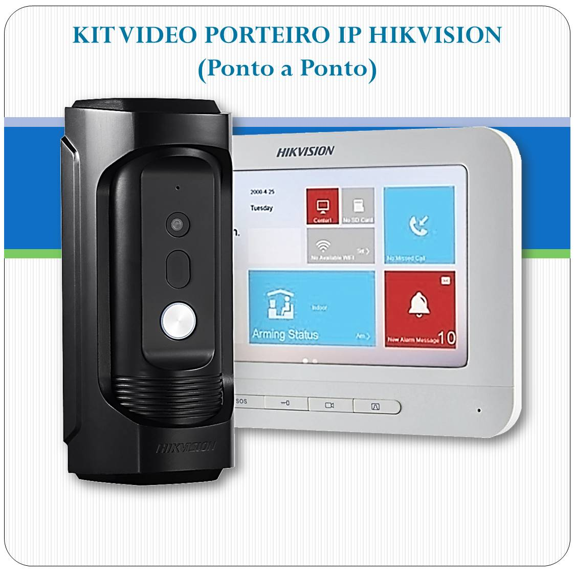 Kit Vídeo Porteiro IP Hikvision Antivandalismo - DS-KB8112-IM