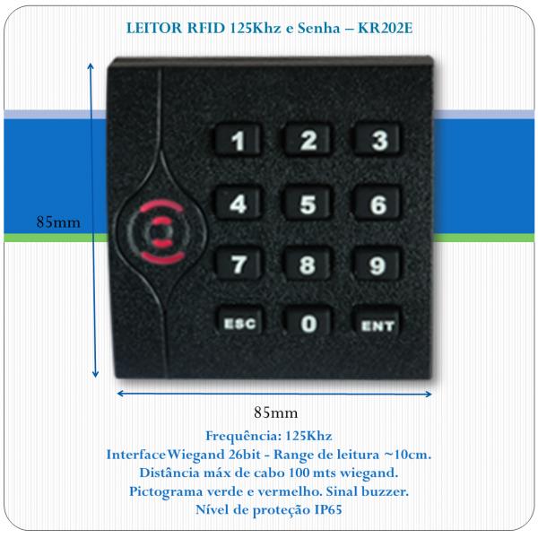 Leitor de RFID slave - KR202E - 125Khz