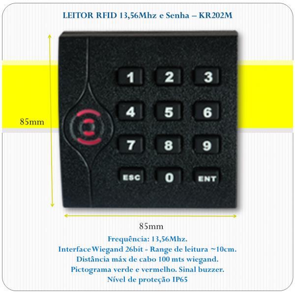 Leitor de RFID slave - KR202M - 13,56Mhz